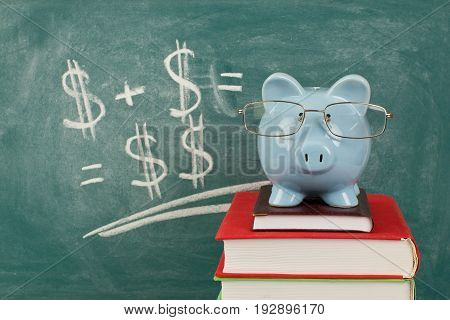 Education textbooks planning college fund books dollar symbol coin bank