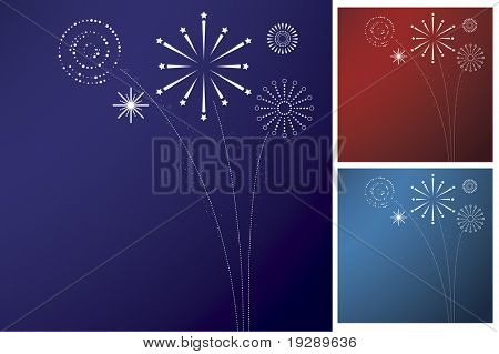 Simple, graphic style firework explosions over gradient. Three variants on separate layers for Blue, teal, and red themes.
