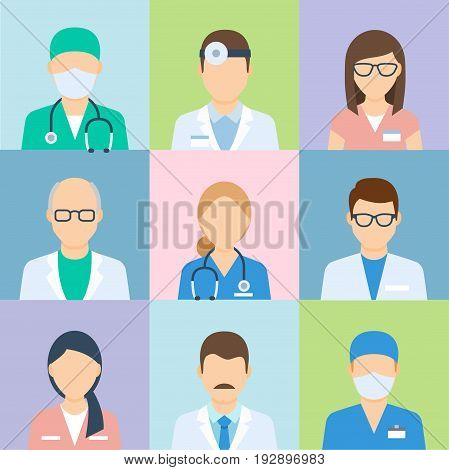 Doctor profile picture, medical icon set. Professional human avatar, badge image for hospital and clinic workers. Vector flat style cartoon illustration