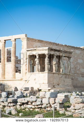 Erechtheion with Porch of the Caryatids Acropolis Athens Greece. Ancient Architecture. poster