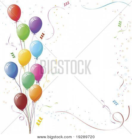 Balloon and Confetti Celebration Vector Background