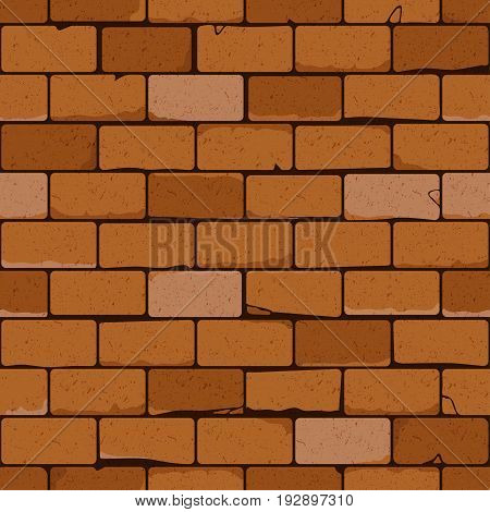 Red brick wall seamless vector pattern. Background with texture of old bricks for continuous replicate.