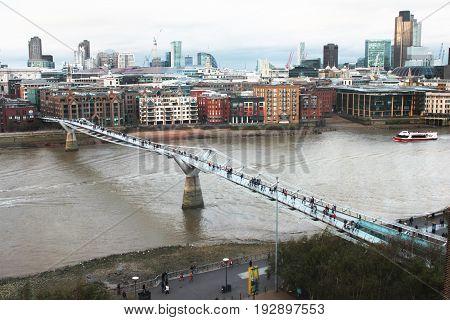 Millennium bridge bridge over the Thames in London England