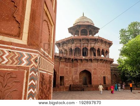 Agra India - April 30 2017 : Mehman Khana of Taj Mahal Mehman Khana is a drawing room where guests are entertained in many houses in North India