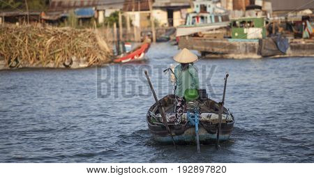 Can Tho, Vietnam - March 23, 2017 : Local people living their every day life on the Mekong River in Can Tho, Vietnam