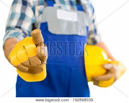 Man work pointing helmet worker background equipment