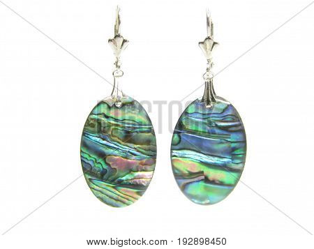 mother-of-pearl mineral earrings isolated on white backgroud