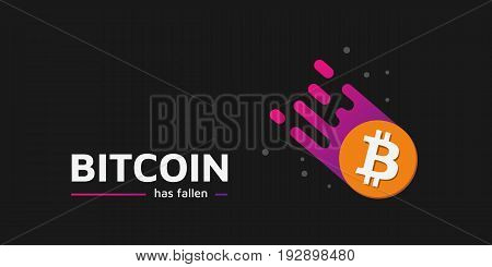 Falling Coin as a comet. The fall of bitcoin. Bitcoin has fallen text. Dark background. Illustration. Eps10.