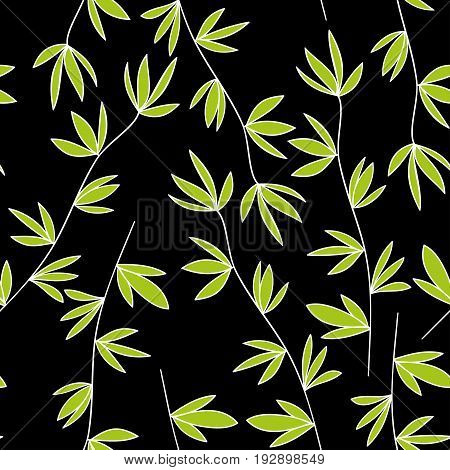 Vegetable seamless pattern. White branches with green leaves on a black background.