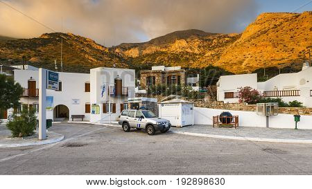 KAMARES, GREECE - MAY 21, 2017: View of Kamares village early in the morning on May 21, 2017.