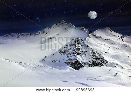 Elbrus Mount With Moon