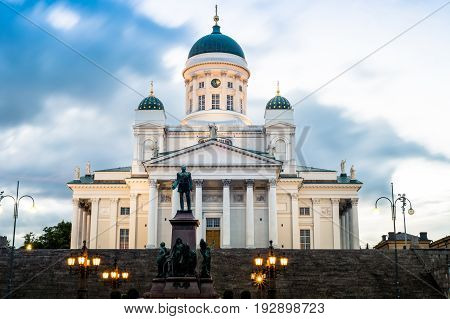 Helsinki, Finland. Famous Landmark In Finnish Capital - Senate Square With Lutheran Cathedral And Monument To Russian Emperor At Summer Night