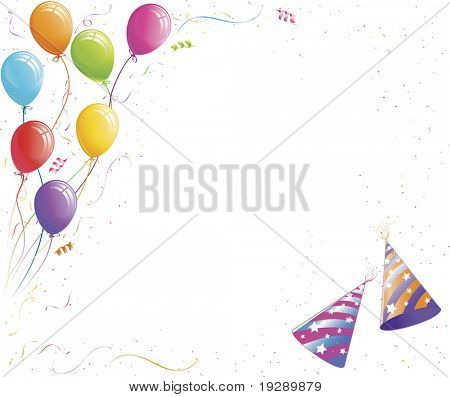Party Balloons, Hats, and Confetti