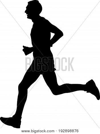 male athlete runner leader of marathon running black silhouette