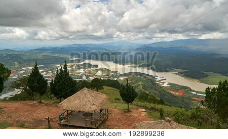 Wide view with storm and rain clouds from the mountain lang biang in Da-lat, Vietnam
