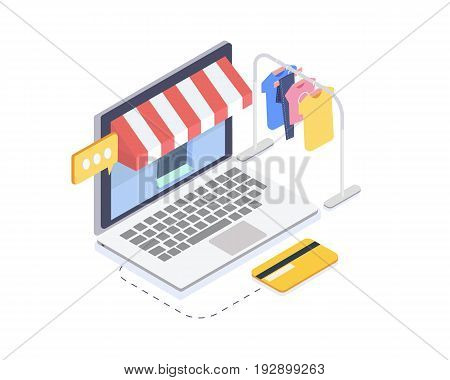 Isometric online clothes store.Online shopping and consumerism concept.3D Vector illustration