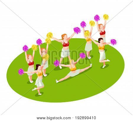 Cheerleading dancers with colorful pompons performing on green floor 3d isometric vector illustration