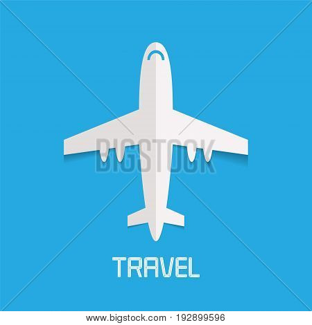Airplane vector illustration clipart. Concept design for travel agency logo air tickets selling traveling by place