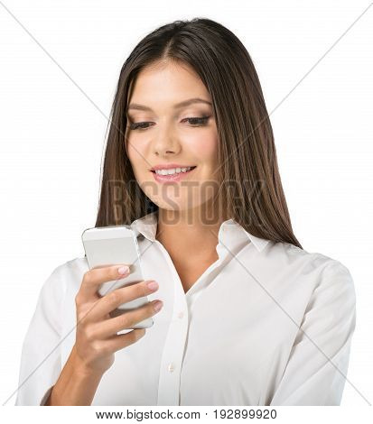 Business one young woman phone businesswoman background