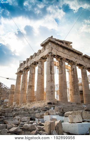 Ancient Greek temple Parthenon in Athens on a clear day against the blue sky