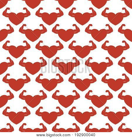 Red strong hearts seamless pattern. Red hearts on white vector background