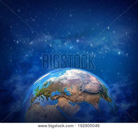 Planet Earth in deep space star cluster and milky way far behind - 3D illustration Elements of this image furnished by NASA