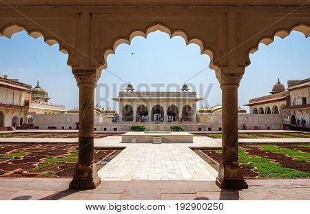 Khas Mahal and facing garden Agra Fort Agra India