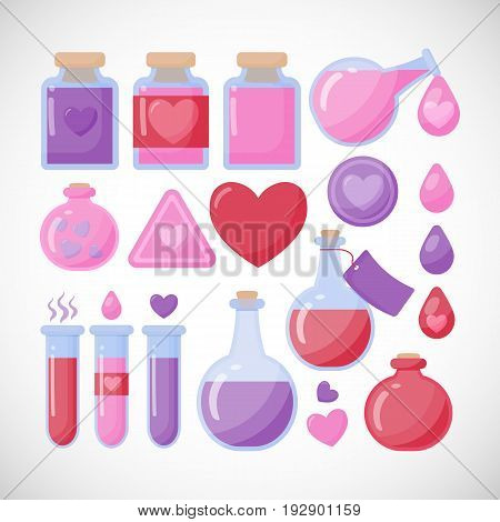 Love potion vector flat icon set Flat design of Valentine day romantic or magical symbols isolated on the white background vector illustration