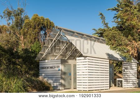 Hobart Australia - March 19. 2017: Tasmania. Modern white Public Facilities at Cornelian Bay. Set in forested area under blue sky.