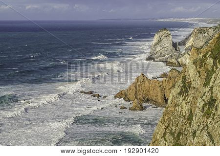 The Atlantic ocean landscape with cliffs and rocks of Cabo da Rocathe western point of EuropePortugal.
