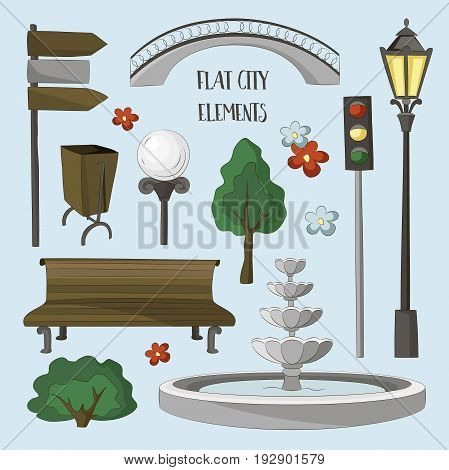 City street urban elements icon set. Lights and outdoor elements for construction of city, park and outdoor landscapes.