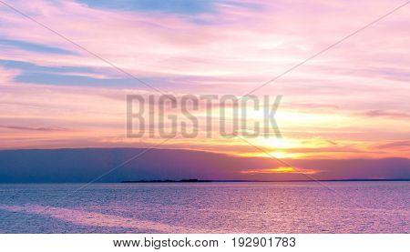 Sunset over Water Bright Illumination