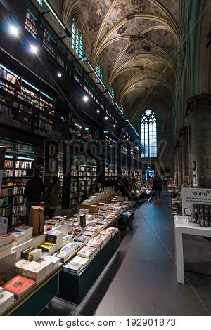 MAASTRICHT NETHERLANDS - JANUARY 13 2016: Dominican Church of the 13th century after the restoration in 2005 using the premises as a bookstore.