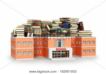 School building filled with book isolated on white background. 3D illustration
