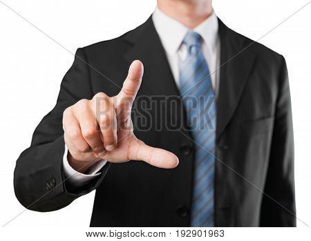 Business man finger point white background focus