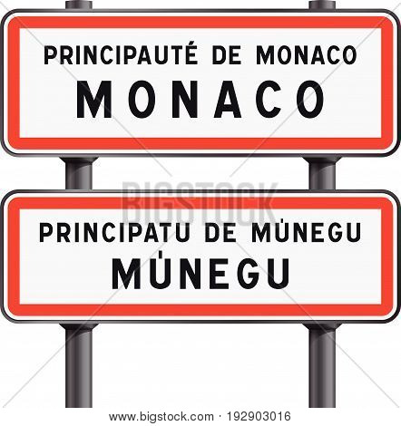 Vector illustration of Monaco road signs entrance with the Monegasque traduction Munegu
