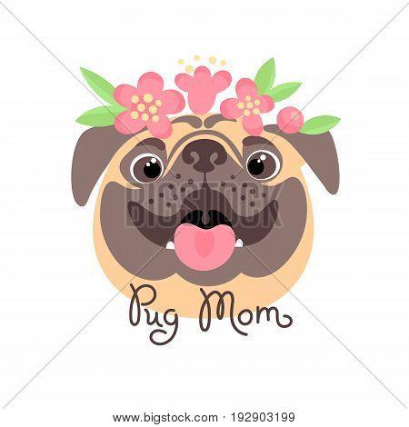 Pug Mom. Image of happy mother dog. Vector illustration.
