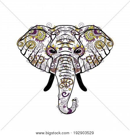 Hand painted Panther front view with colorful ornaments vector illustration. Indian ornament.