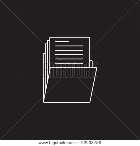 Folder thin line icon, portfolio outline vector logo illustration, linear pictogram isolated on black