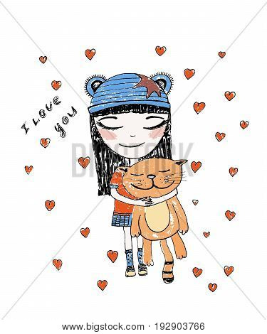 Hand drawn beautiful, cute, little girl with pretty cat on the background with words I love You . Handdrawn girl vector illustration.