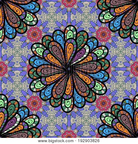 Motley vector illustration. Seamless exotic pattern with many tropical flowers. Blooming jungle.