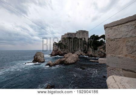 DUBROVNIK, CROATIA - NOVEMBER 07: Fort Lovrijenac or St. Lawrence Fortress in Dubrovnik, Croatia on November 07, 2016.