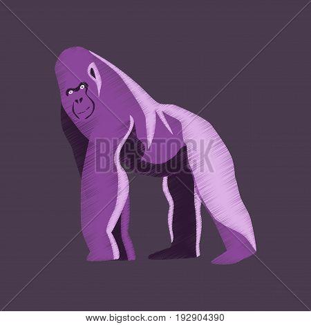 flat shading style icon gorilla nature animal