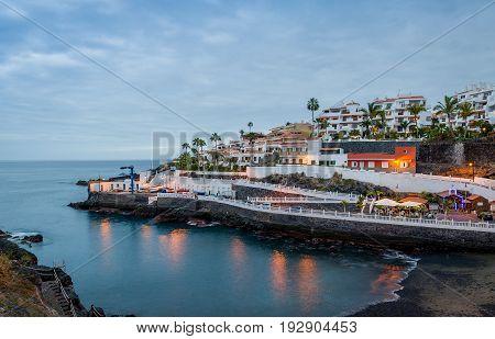 Puerto de Santiago small beach evening light long exposure photo. Tenerife island, Spain.
