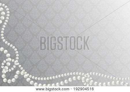 Abstract vector background with beautiful 3D shiny natural white pearl garlands beads on victorian background. Set for celebratory design Christmas decorations. wedding theme. Vector illustration.