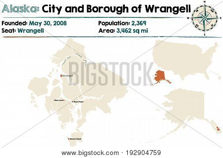 Large and detailed map of the City and Borough of Wrangell in Alaska
