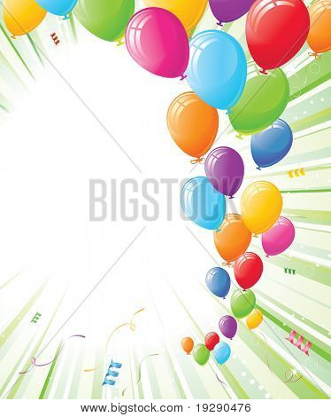 Balloons and Burst of Light Green Background