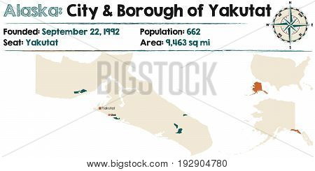 Large and detailed map of City and Borough of Yakutat in Alaska