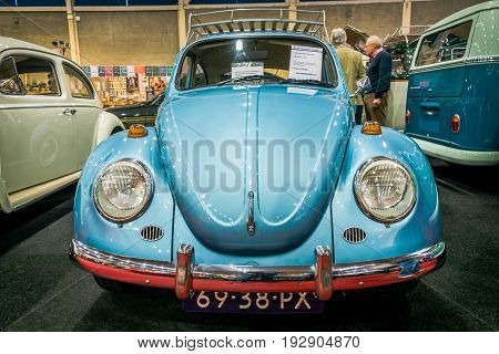 MAASTRICHT NETHERLANDS - JANUARY 14 2016: Compact car Volkswagen Beetle 1971. International Exhibition InterClassics & Topmobiel 2016
