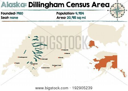 Large and detailed map of Dillingham Census Area in Alaska